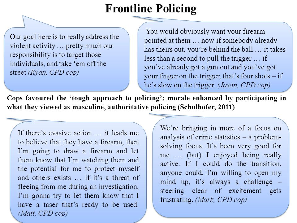 Frontline Policing Cops favoured the 'tough approach to policing'; morale enhanced by participating in what they viewed as masculine, authoritative policing (Schulhofer, 2011) Our goal here is to really address the violent activity … pretty much our responsibility is to target those individuals, and take 'em off the street (Ryan, CPD cop) If there's evasive action … it leads me to believe that they have a firearm, then I'm going to draw a firearm and let them know that I'm watching them and the potential for me to protect myself and others exists … if it's a threat of fleeing from me during an investigation, I'm gonna try to let them know that I have a taser that's ready to be used.