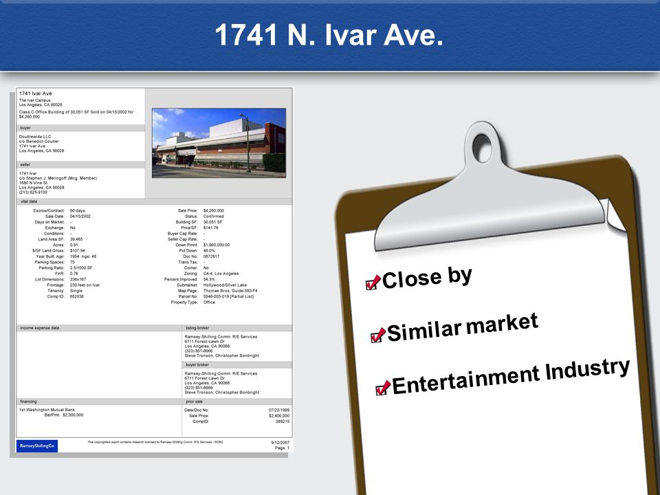 1741 N. Ivar Ave. Close by Similar market Entertainment Industry