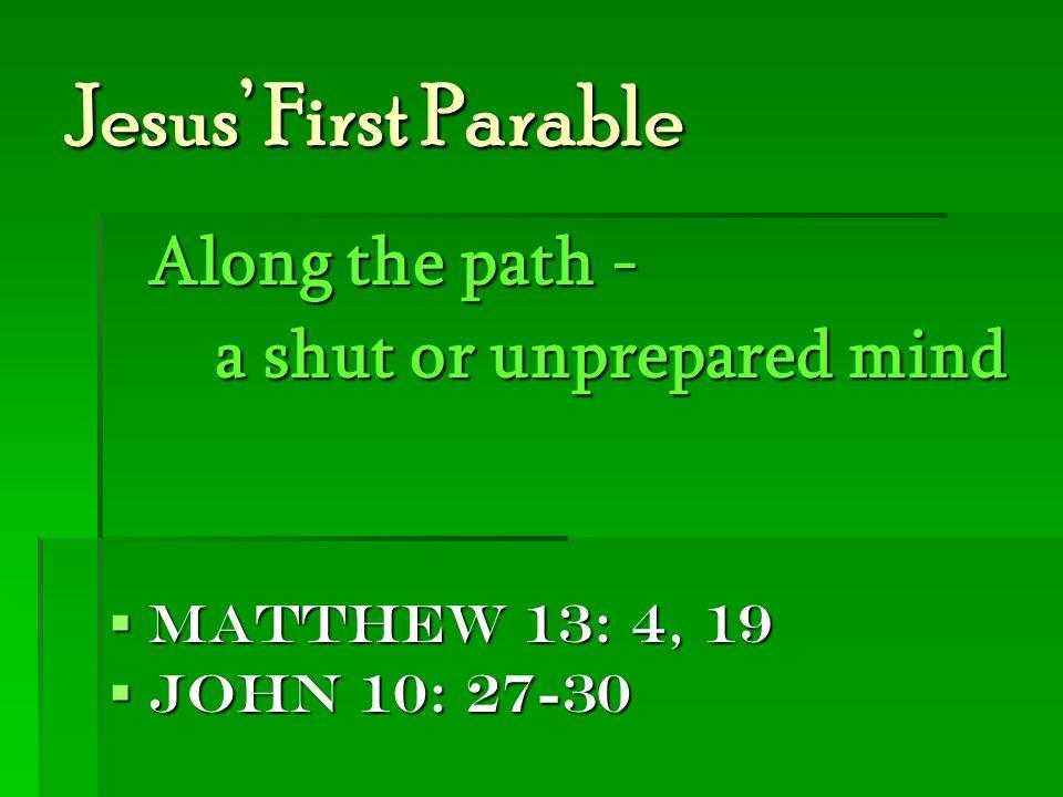 Jesus' First Parable Along the path - a shut or unprepared mind  Matthew 13: 4, 19  John 10: 27-30