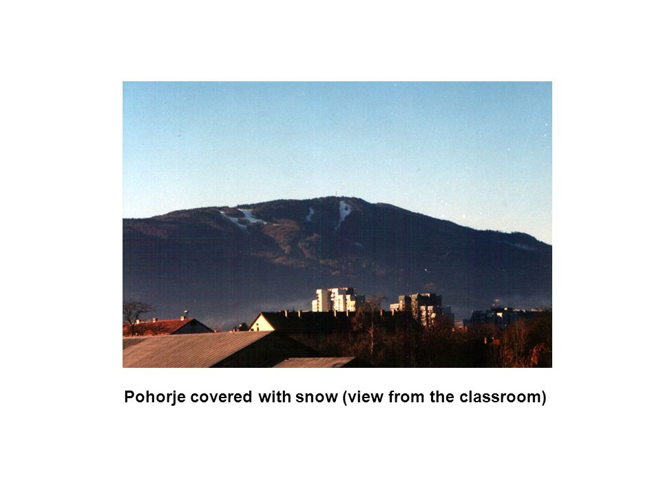 Pohorje covered with snow (view from the classroom)