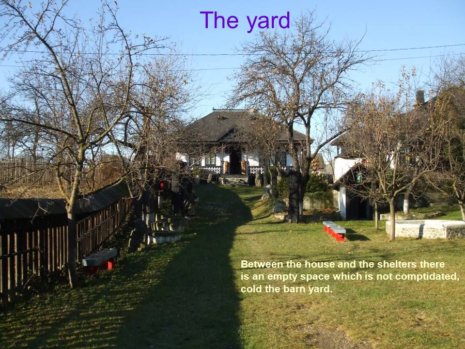 The yard Between the house and the shelters there is an empty space which is not comptidated, cold the barn yard.