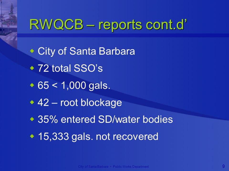 City of Santa Barbara Public Works Department 9 RWQCB – reports cont.d'  City of Santa Barbara  72 total SSO's  65 < 1,000 gals.