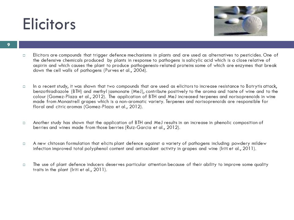 Elicitors  Elicitors are compounds that trigger defence mechanisms in plants and are used as alternatives to pesticides.