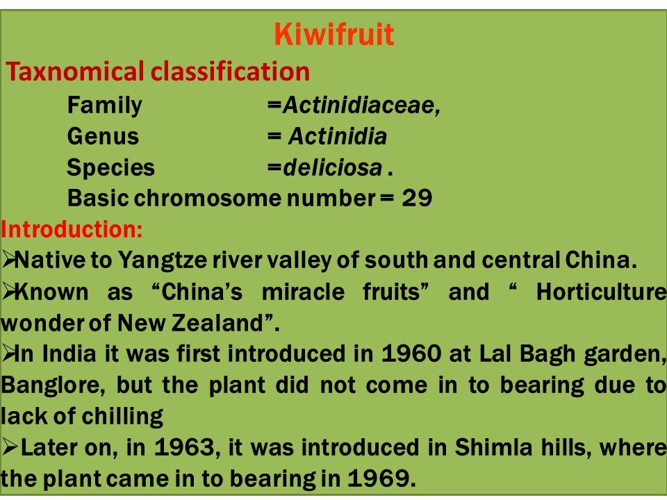 Kiwifruit Taxnomical classification Family =Actinidiaceae, Genus = Actinidia Species =deliciosa.