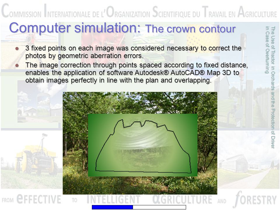 The Use of Tractor in Orchards and the Protection of Driver in Case of Overturning Computer simulation: The crown contour 3 fixed points on each image