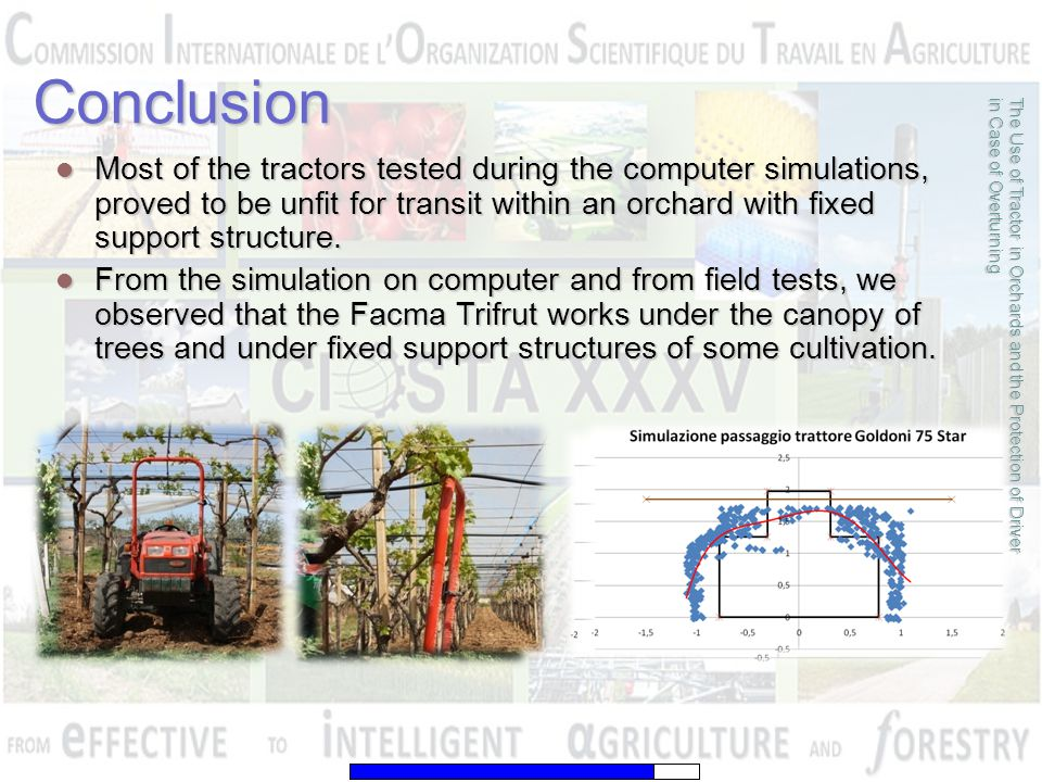 Most of the tractors tested during the computer simulations, proved to be unfit for transit within an orchard with fixed support structure. Most of th