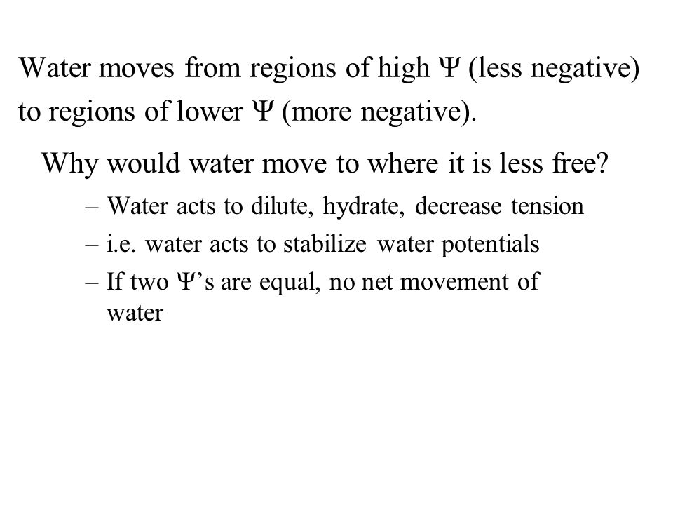 Why would water move to where it is less free.