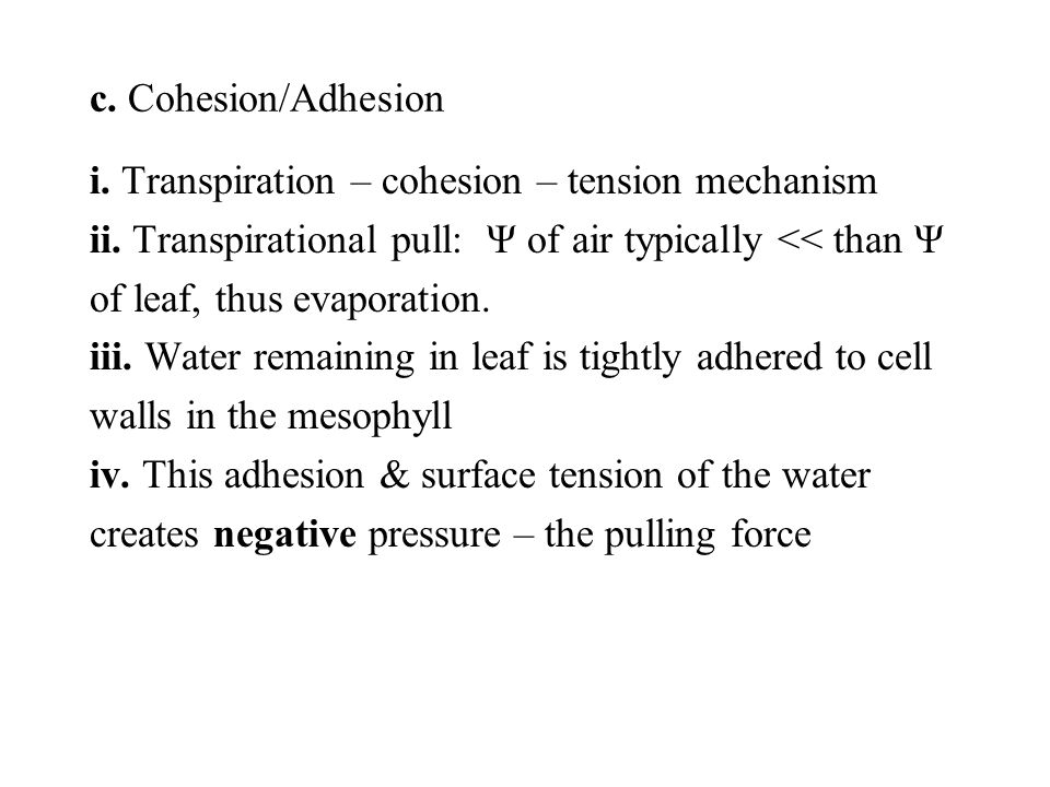 i. Transpiration – cohesion – tension mechanism ii.