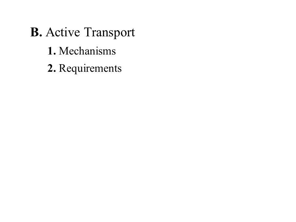 B. Active Transport 1. Mechanisms 2. Requirements