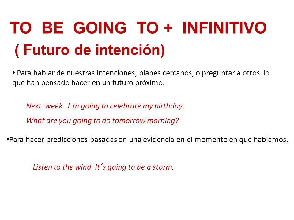 TO BE GOING TO + INFINITIVO ( Futuro de intención) Para hablar de nuestras intenciones, planes cercanos, o preguntar a otros lo que han pensado hacer en un futuro próximo.