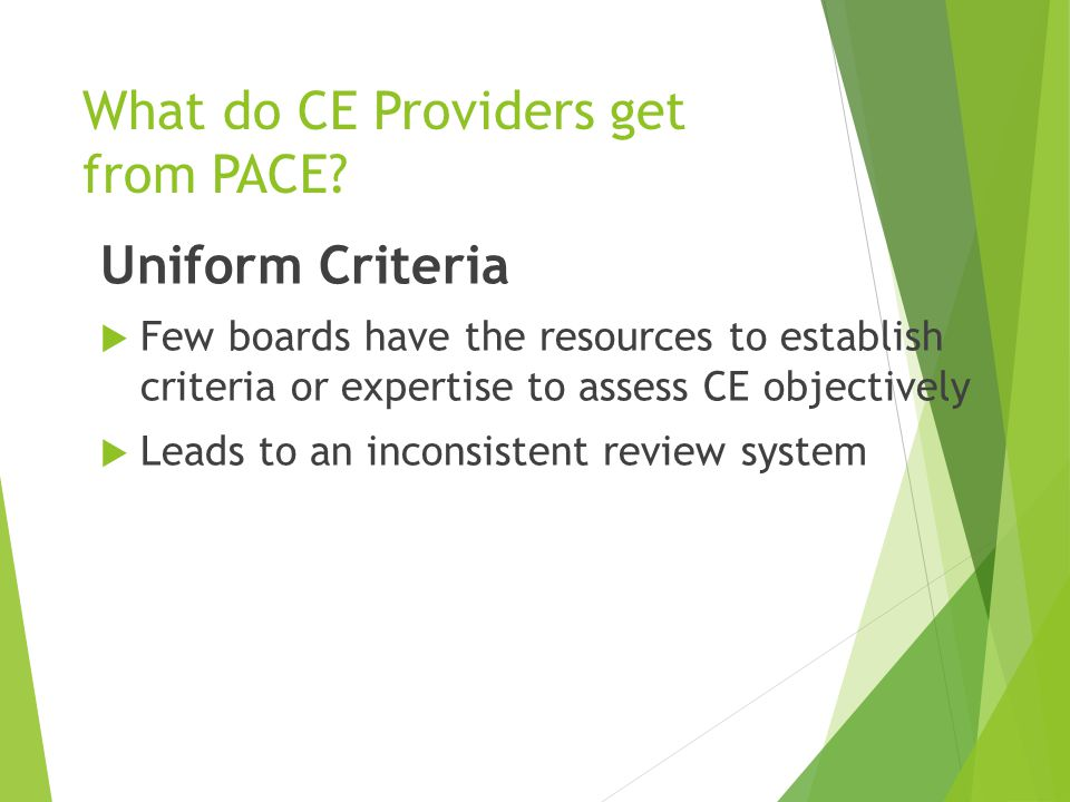 Uniform Criteria  Few boards have the resources to establish criteria or expertise to assess CE objectively  Leads to an inconsistent review system