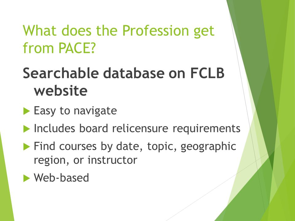 What does the Profession get from PACE.