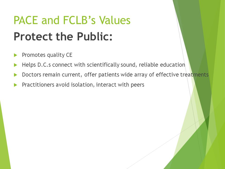 PACE and FCLB's Values Protect the Public:  Promotes quality CE  Helps D.C.s connect with scientifically sound, reliable education  Doctors remain current, offer patients wide array of effective treatments  Practitioners avoid isolation, interact with peers