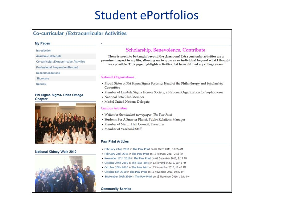Student ePortfolios