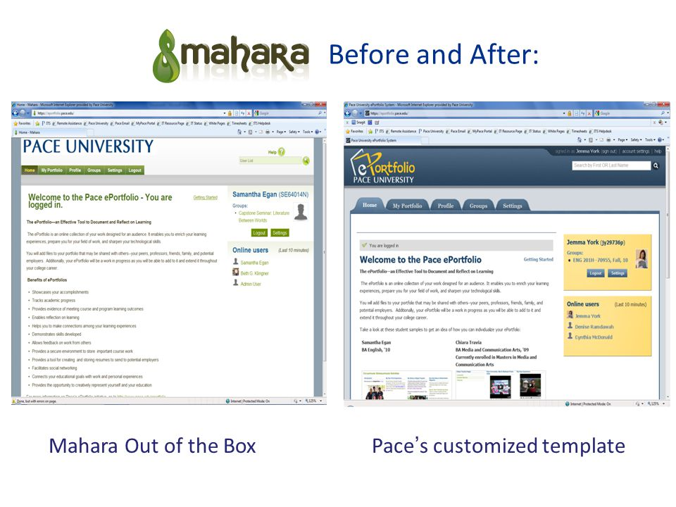 Before and After: Mahara Out of the BoxPace's customized template
