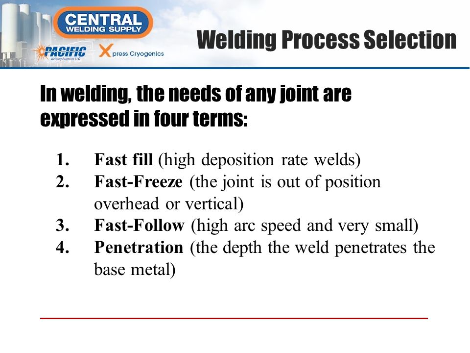 1.Fast fill (high deposition rate welds) 2.Fast-Freeze (the joint is out of position overhead or vertical) 3.Fast-Follow (high arc speed and very smal