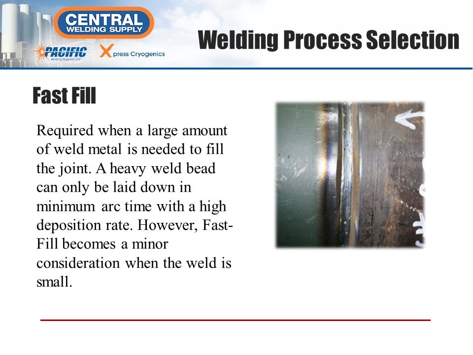 Required when a large amount of weld metal is needed to fill the joint. A heavy weld bead can only be laid down in minimum arc time with a high deposi