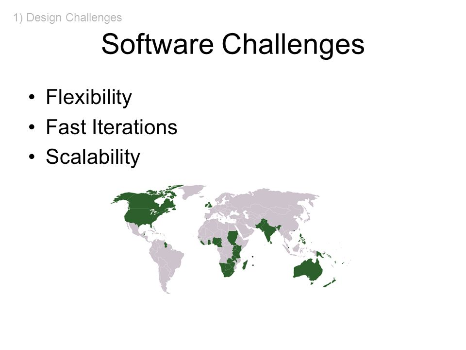 Software Challenges Flexibility Fast Iterations Scalability 1) Design Challenges
