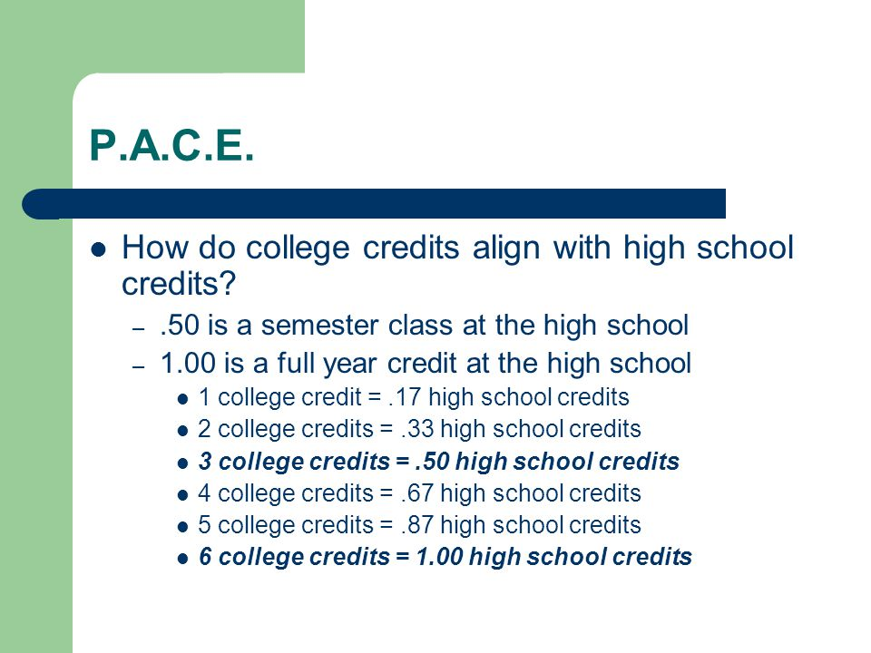 P.A.C.E. How do college credits align with high school credits.