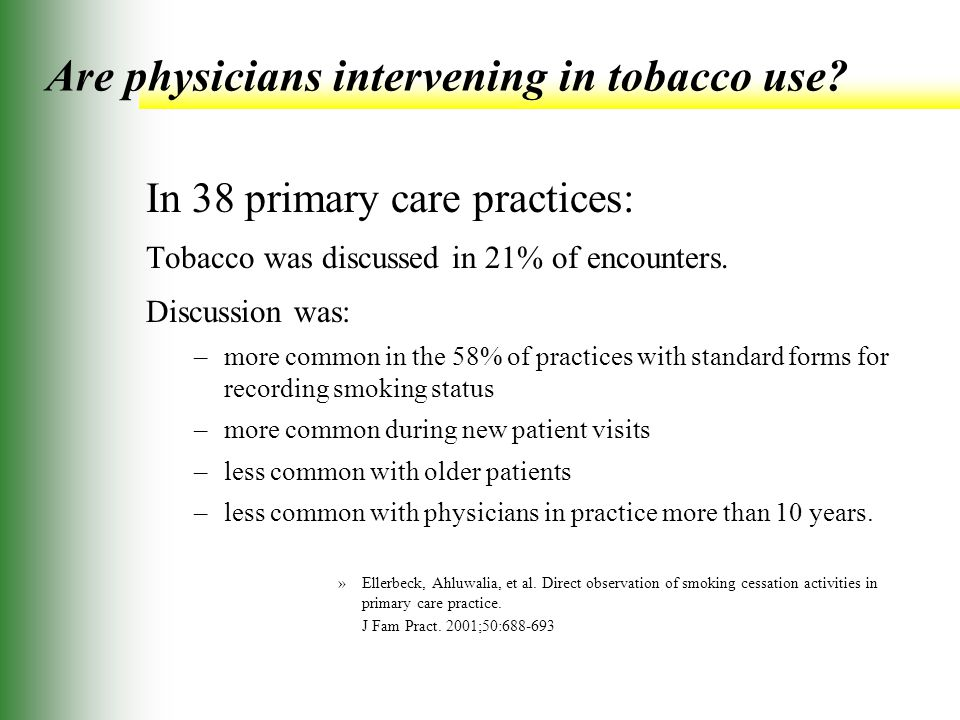 Are physicians intervening in tobacco use.