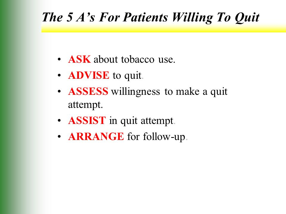 The 5 A's For Patients Willing To Quit ASK about tobacco use.