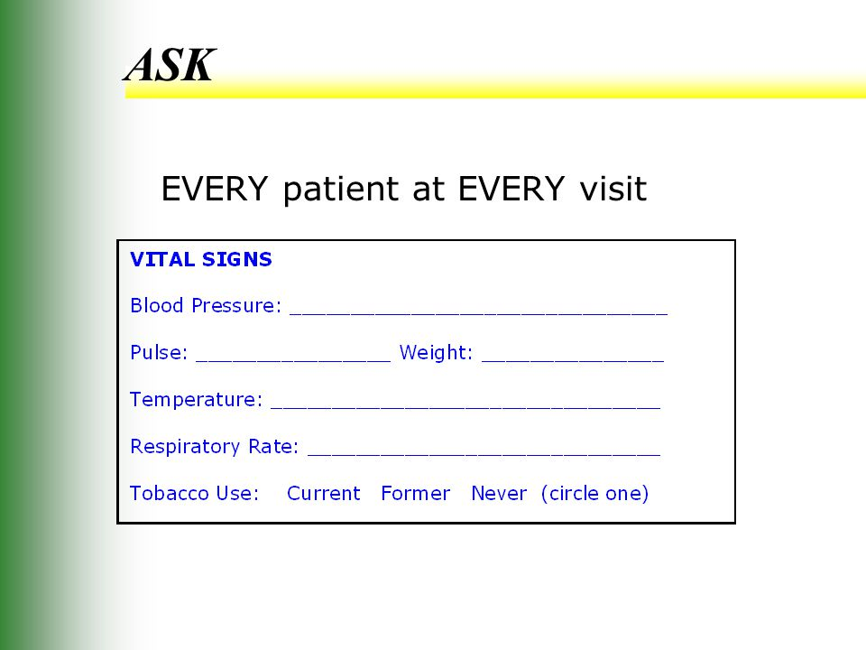 ASK EVERY patient at EVERY visit