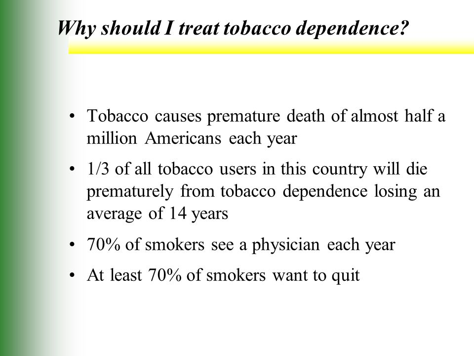 Why should I treat tobacco dependence.