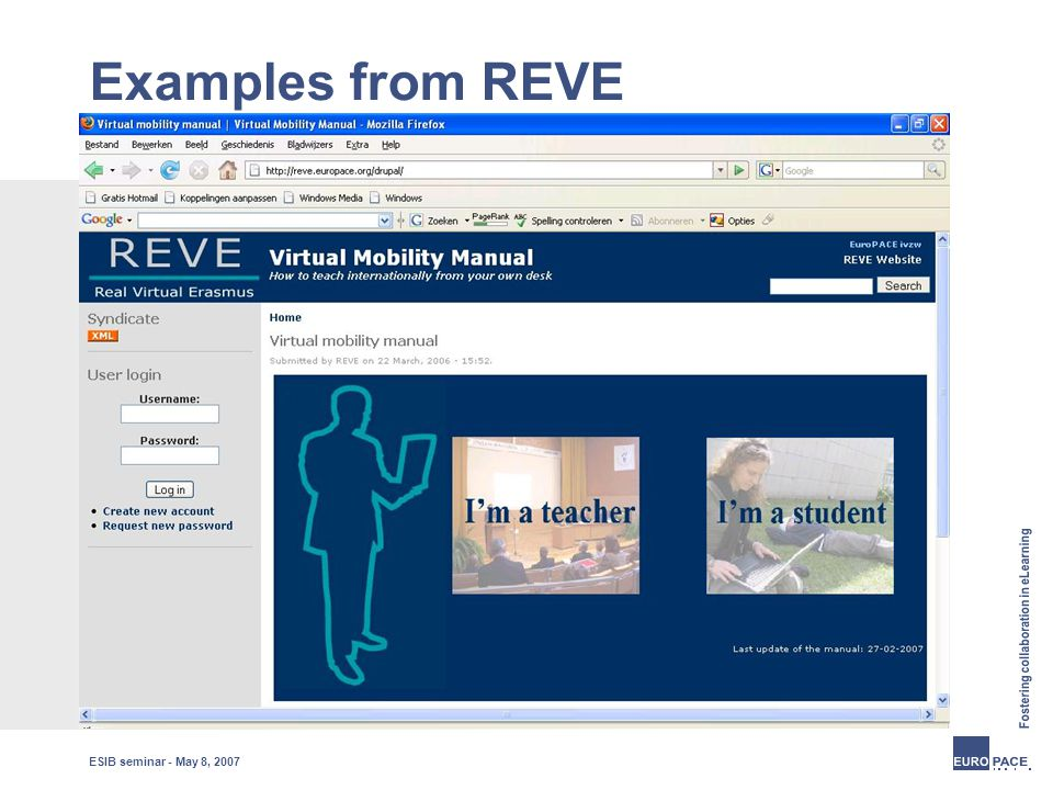 ESIB seminar - May 8, 2007 Examples from REVE