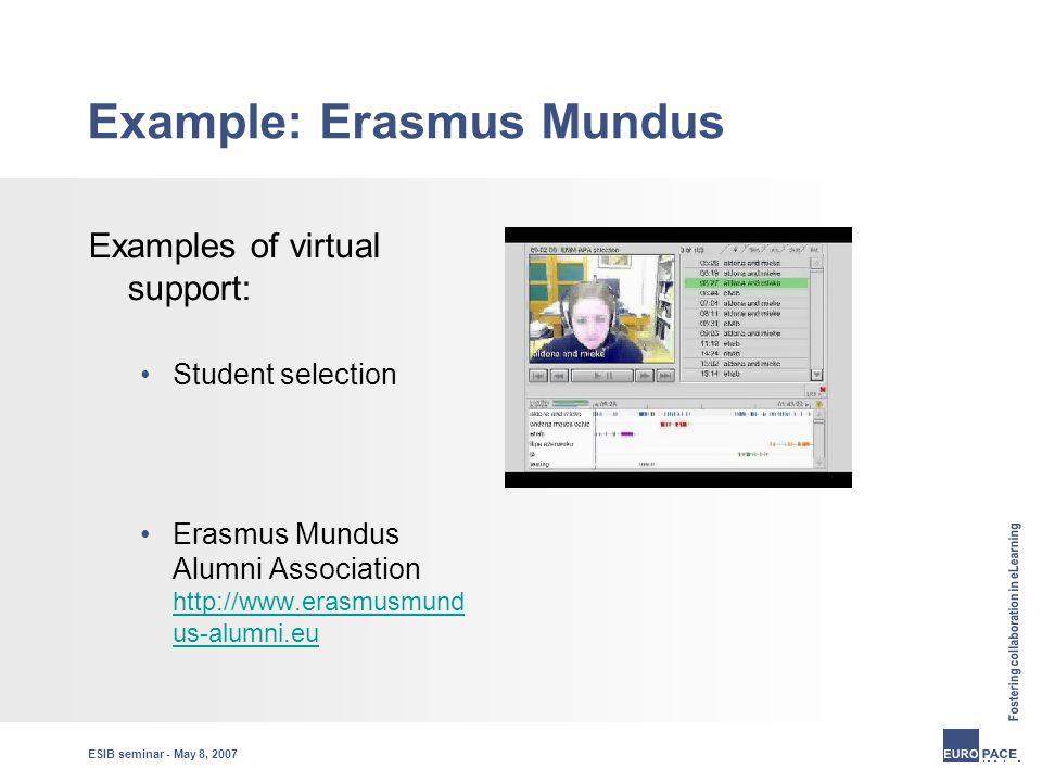 ESIB seminar - May 8, 2007 Example: Erasmus Mundus Examples of virtual support: Student selection Erasmus Mundus Alumni Association http://www.erasmusmund us-alumni.eu http://www.erasmusmund us-alumni.eu