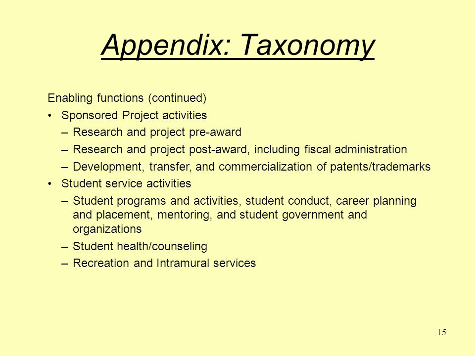 15 Appendix: Taxonomy Enabling functions (continued) Sponsored Project activities –Research and project pre-award –Research and project post-award, including fiscal administration –Development, transfer, and commercialization of patents/trademarks Student service activities –Student programs and activities, student conduct, career planning and placement, mentoring, and student government and organizations –Student health/counseling –Recreation and Intramural services