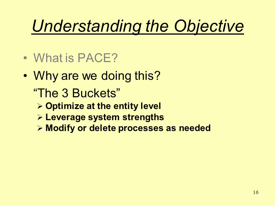 16 Understanding the Objective What is PACE. Why are we doing this.