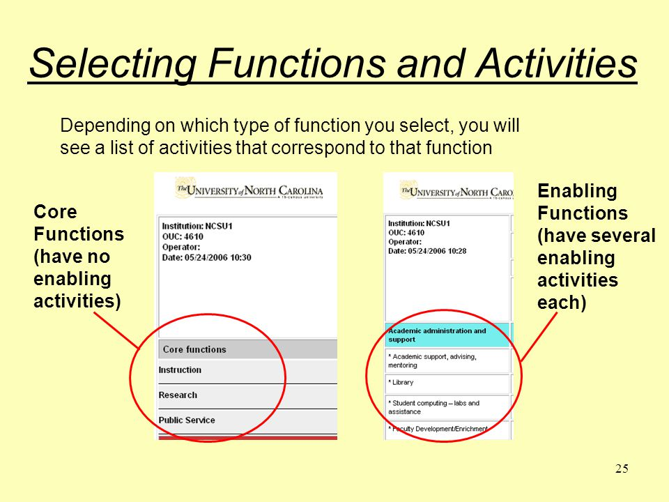 25 Selecting Functions and Activities Depending on which type of function you select, you will see a list of activities that correspond to that function Core Functions (have no enabling activities) Enabling Functions (have several enabling activities each)
