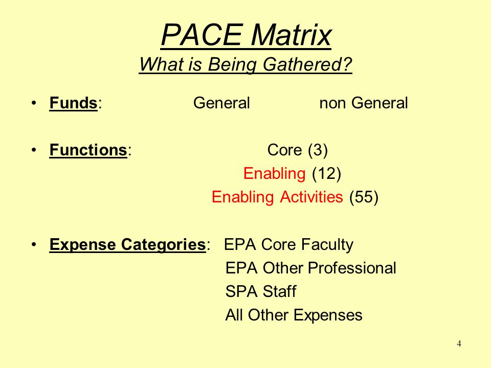 4 PACE Matrix What is Being Gathered.