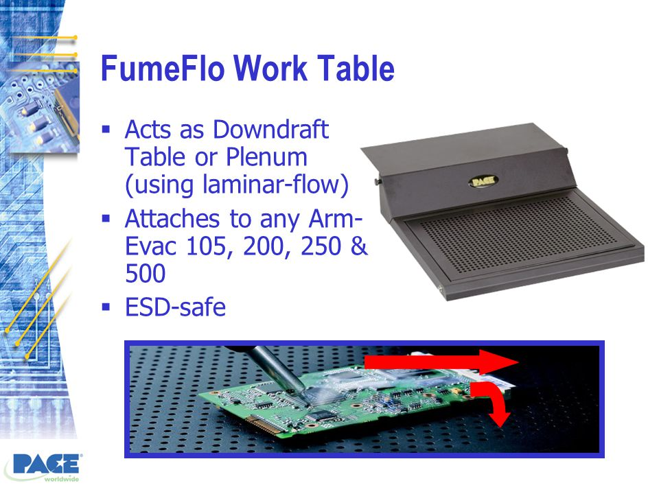 FumeFlo Work Table  Acts as Downdraft Table or Plenum (using laminar-flow)  Attaches to any Arm- Evac 105, 200, 250 & 500  ESD-safe