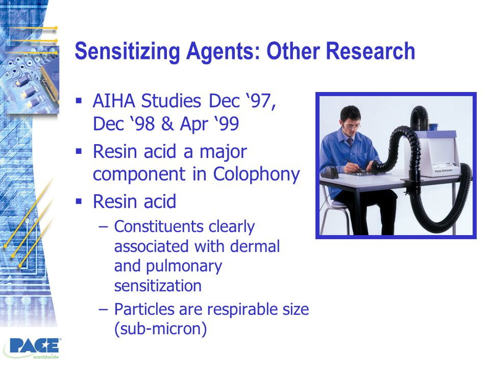 Sensitizing Agents: Other Research  AIHA Studies Dec '97, Dec '98 & Apr '99  Resin acid a major component in Colophony  Resin acid –Constituents clearly associated with dermal and pulmonary sensitization –Particles are respirable size (sub-micron)