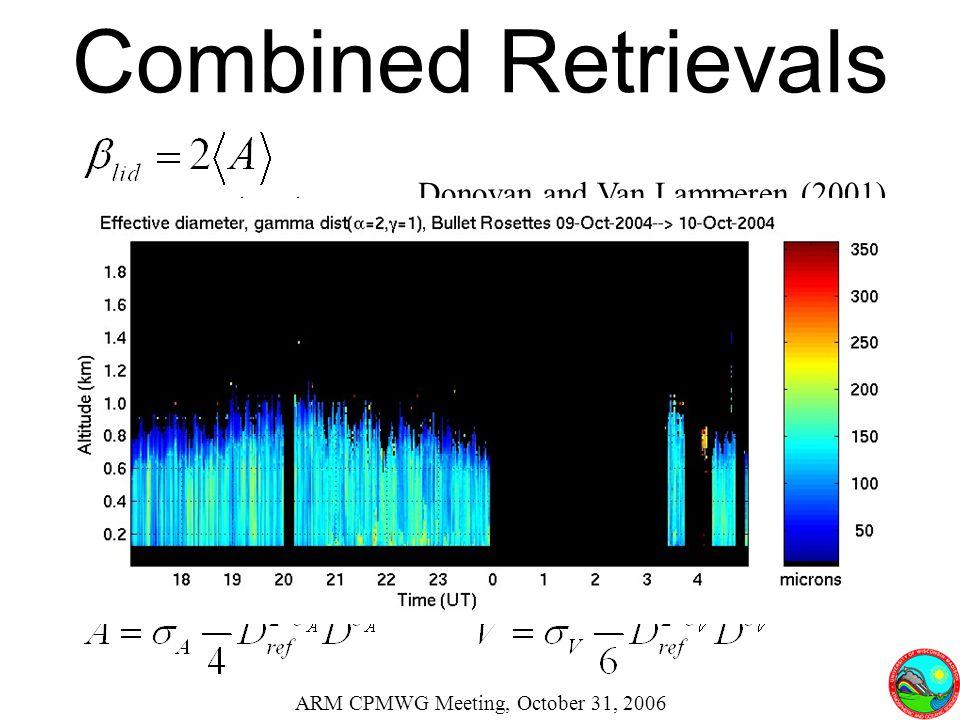 Combined Retrievals ARM CPMWG Meeting, October 31, 2006 Donovan and Van Lammeren (2001)
