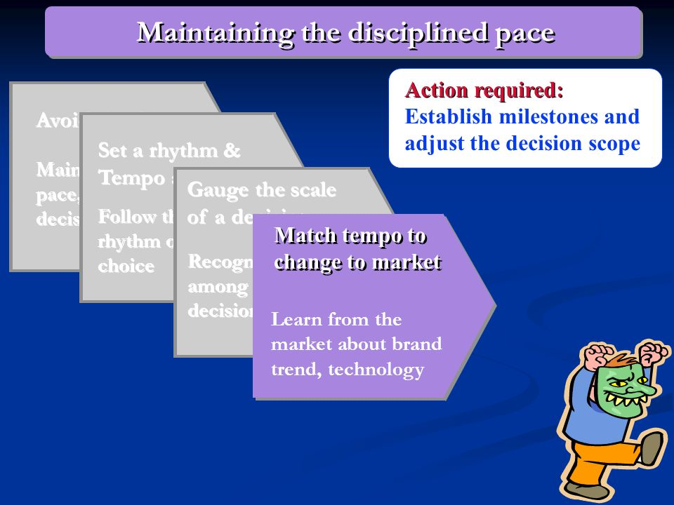 Avoid the dilemma Maintaining decision pace, not pushing decision speed Set a rhythm & Tempo around Follow the natural rhythm of strategic choice Follow the natural rhythm of strategic choice Gauge the scale of a decision Recognize similarities among strategic decisions Action required: Adjust the scope of a decision to fit the allotted time frame Maintaining the disciplined pace