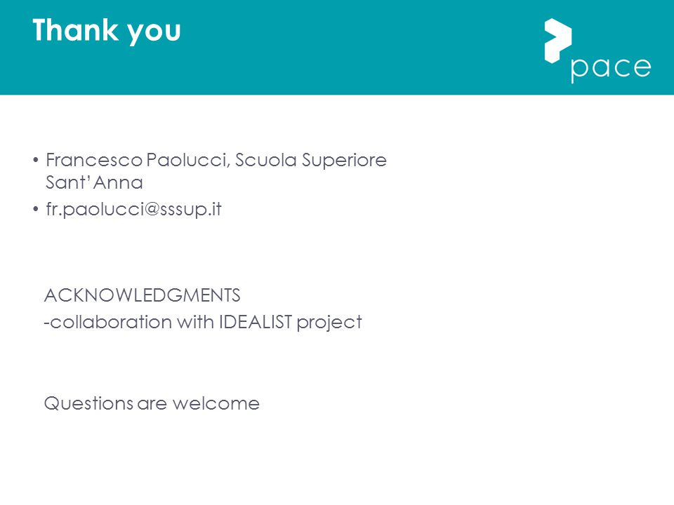 Thank you Francesco Paolucci, Scuola Superiore Sant'Anna fr.paolucci@sssup.it ACKNOWLEDGMENTS -collaboration with IDEALIST project Questions are welco