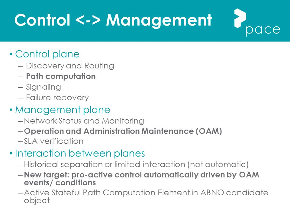 Control Management Control plane – Discovery and Routing – Path computation – Signaling – Failure recovery Management plane – Network Status and Monit