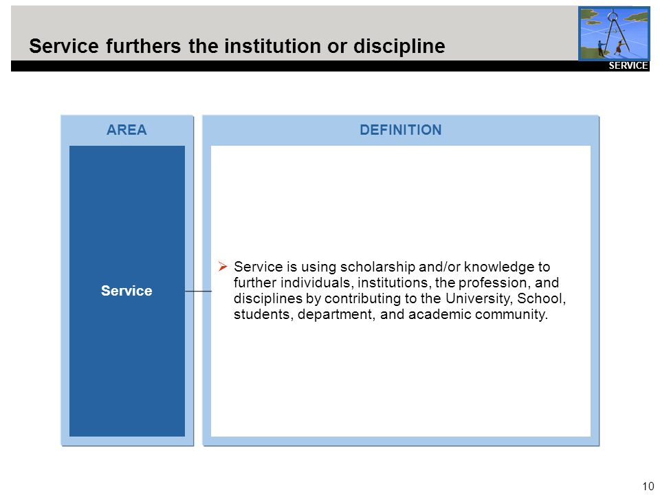 10 Service furthers the institution or discipline AREA Service DEFINITION  Service is using scholarship and/or knowledge to further individuals, inst