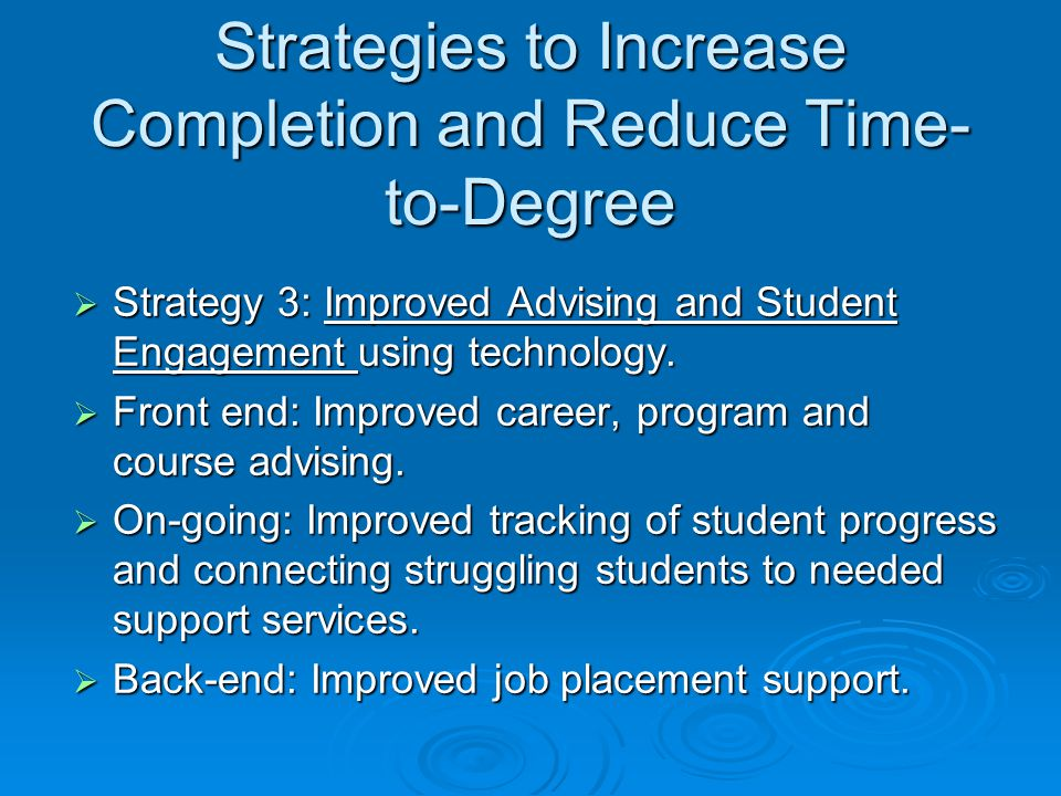 Strategies to Increase Completion and Reduce Time- to-Degree  Strategy 3: Improved Advising and Student Engagement using technology.  Front end: Imp