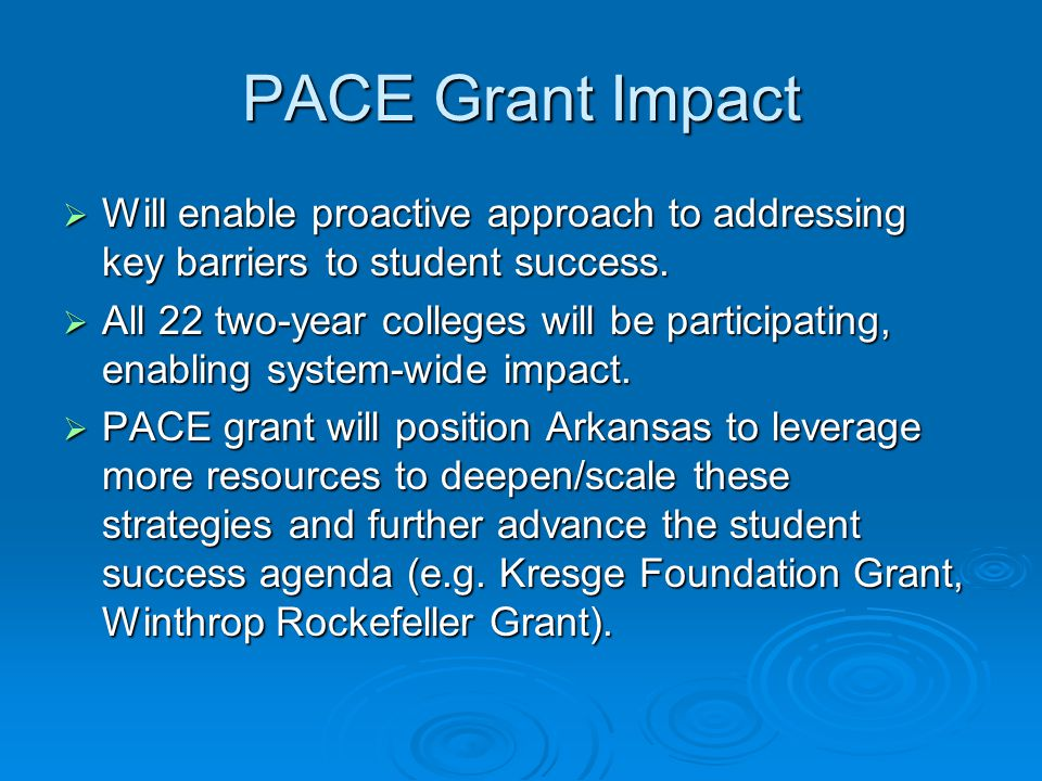 PACE Grant Impact  Will enable proactive approach to addressing key barriers to student success.
