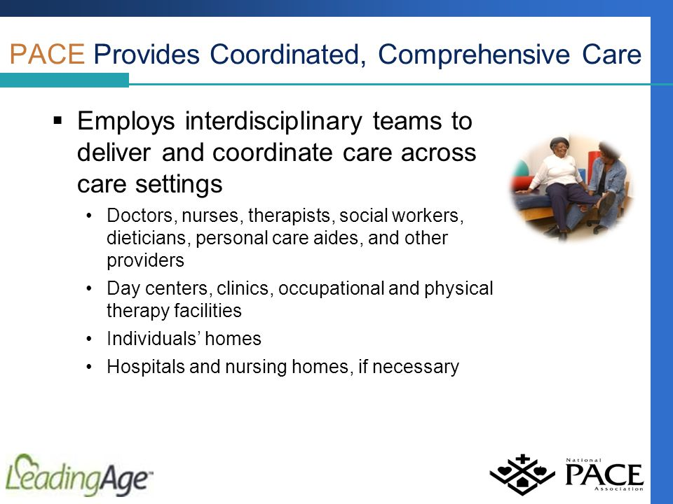  Employs interdisciplinary teams to deliver and coordinate care across care settings Doctors, nurses, therapists, social workers, dieticians, personal care aides, and other providers Day centers, clinics, occupational and physical therapy facilities Individuals' homes Hospitals and nursing homes, if necessary PACE Provides Coordinated, Comprehensive Care