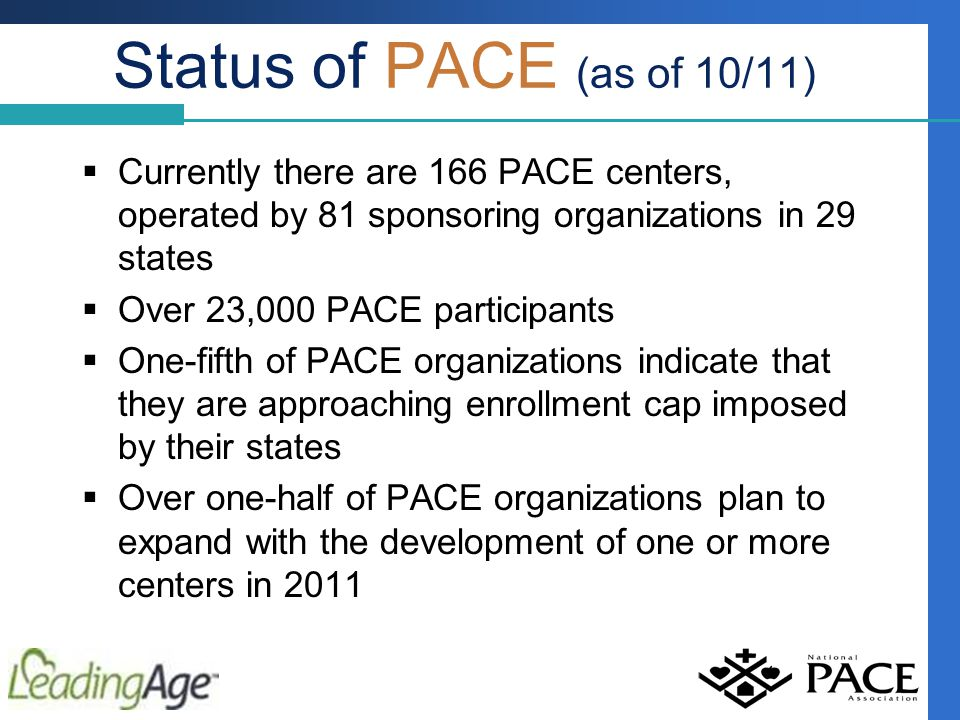 Status of PACE (as of 10/11)  Currently there are 166 PACE centers, operated by 81 sponsoring organizations in 29 states  Over 23,000 PACE participants  One-fifth of PACE organizations indicate that they are approaching enrollment cap imposed by their states  Over one-half of PACE organizations plan to expand with the development of one or more centers in 2011