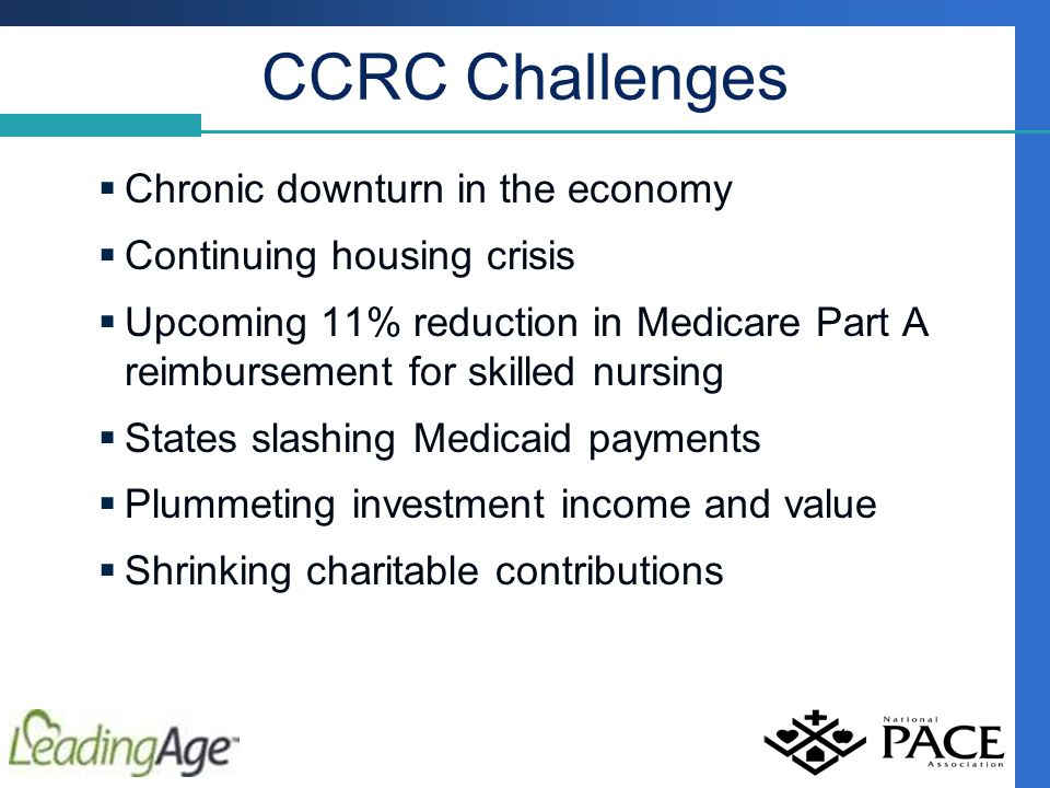 CCRC Challenges  Chronic downturn in the economy  Continuing housing crisis  Upcoming 11% reduction in Medicare Part A reimbursement for skilled nursing  States slashing Medicaid payments  Plummeting investment income and value  Shrinking charitable contributions