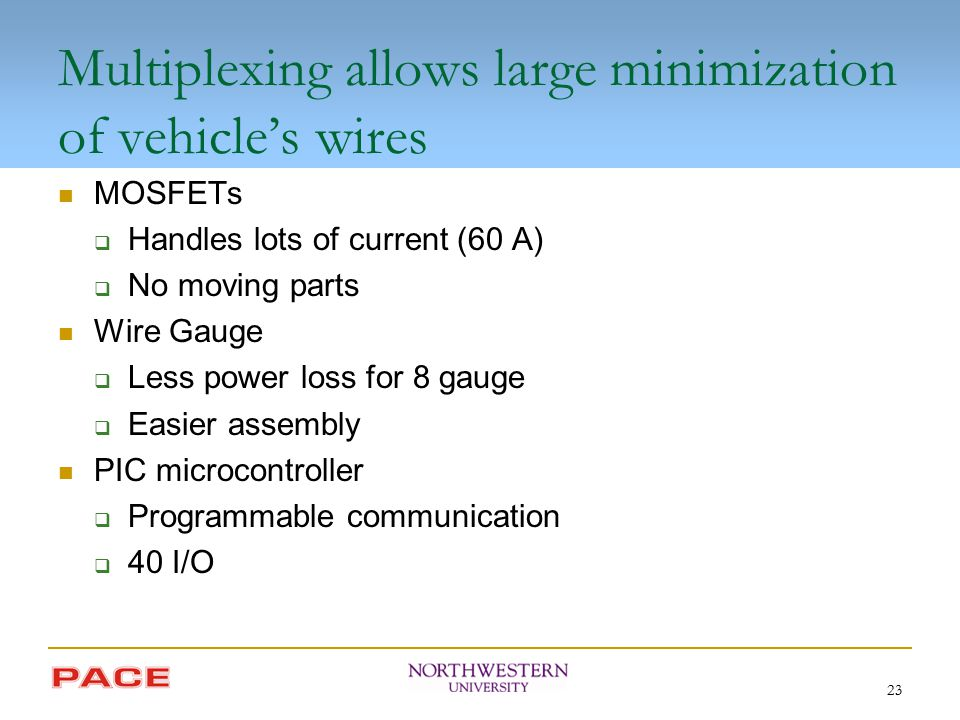 23 Multiplexing allows large minimization of vehicle's wires MOSFETs  Handles lots of current (60 A)  No moving parts Wire Gauge  Less power loss f