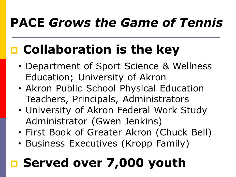 PACE Grows the Game of Tennis  Collaboration is the key  Served over 7,000 youth Department of Sport Science & Wellness Education; University of Akr