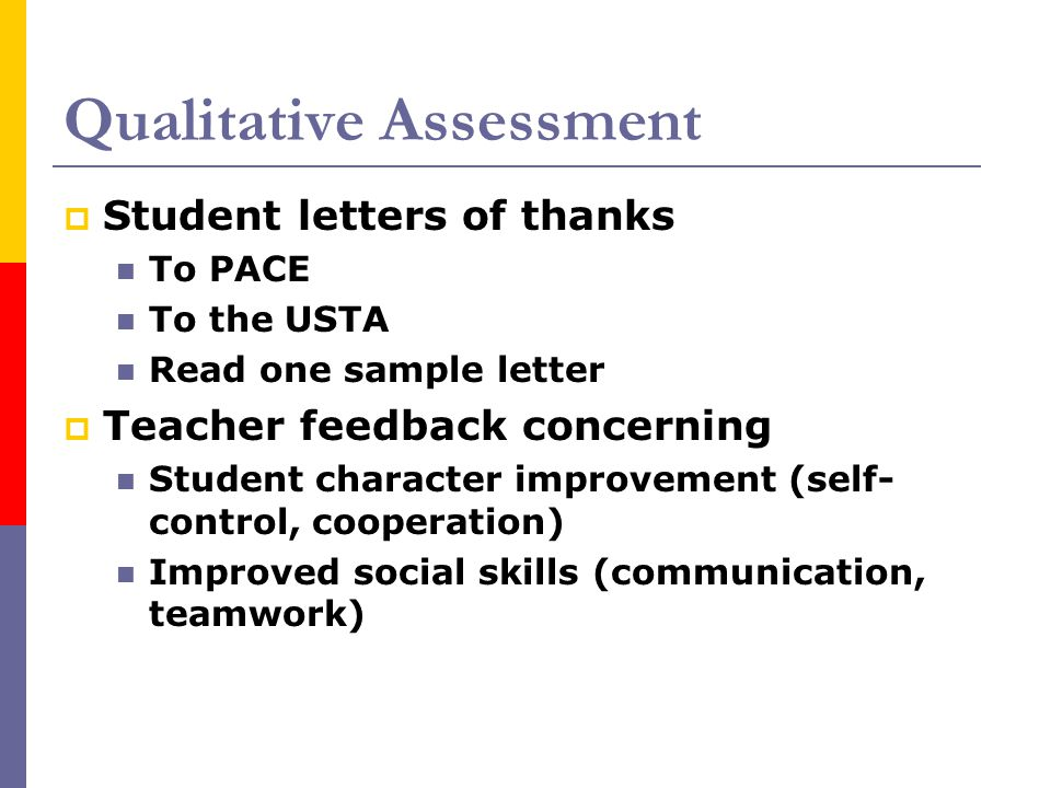 Qualitative Assessment  Student letters of thanks To PACE To the USTA Read one sample letter  Teacher feedback concerning Student character improvem