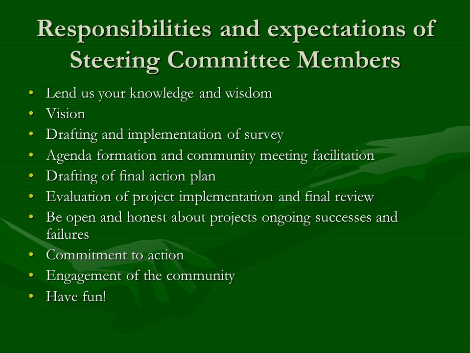 Responsibilities and expectations of Steering Committee Members Lend us your knowledge and wisdomLend us your knowledge and wisdom VisionVision Drafting and implementation of surveyDrafting and implementation of survey Agenda formation and community meeting facilitationAgenda formation and community meeting facilitation Drafting of final action planDrafting of final action plan Evaluation of project implementation and final reviewEvaluation of project implementation and final review Be open and honest about projects ongoing successes and failuresBe open and honest about projects ongoing successes and failures Commitment to actionCommitment to action Engagement of the communityEngagement of the community Have fun!Have fun!