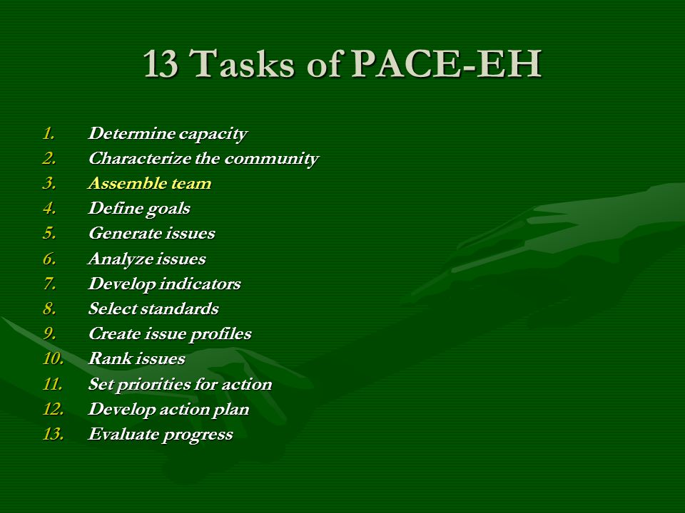 13 Tasks of PACE-EH 1.Determine capacity 2.Characterize the community 3.Assemble team 4.Define goals 5.Generate issues 6.Analyze issues 7.Develop indicators 8.Select standards 9.Create issue profiles 10.Rank issues 11.Set priorities for action 12.Develop action plan 13.Evaluate progress